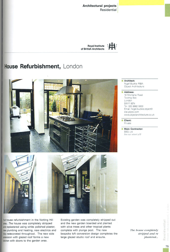 RIBA Architectural Projects 2006 featuring House Refurbishment project by Nigel Buckie from Object Architecture